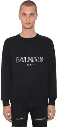 Balmain Logo Print Cotton Sweatshirt