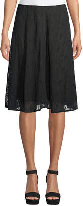 Leon Max Lace-Overlay A-Line Skirt