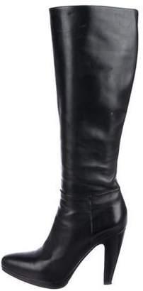 Prada Leather Round-Toe Knee-High Boots