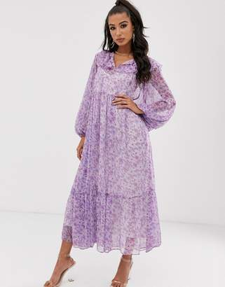 House Of Stars maxi floral smock dress with tie detail and full skirt