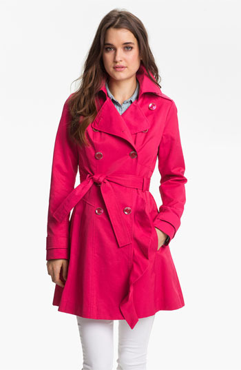 GUESS Ruffle Front Trench Coat (Regular & Petite) (Online Only)