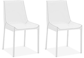 One Kings Lane Set of 2 Conrad Side Chairs - White Leather