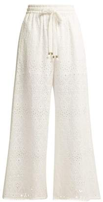 Zimmermann Castile Cotton And Silk Blend Trousers - Womens - Ivory