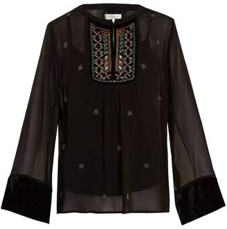 Velvet by Graham & Spencer Becky Embellished Chiffon Blouse - Womens - Black
