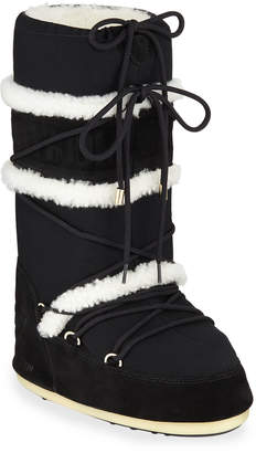 Yves Salomon Tall Suede Boots w/ Shearling Trim