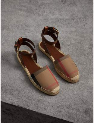 Burberry Leather and House Check Espadrille Sandals , Size: 39.5, Brown