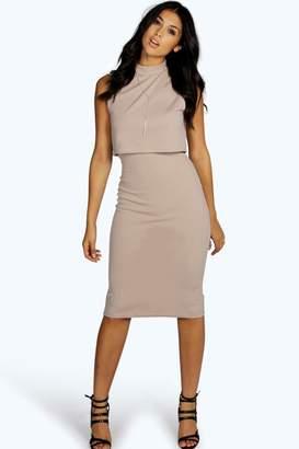 boohoo High Neck Double Layer Midi Dress