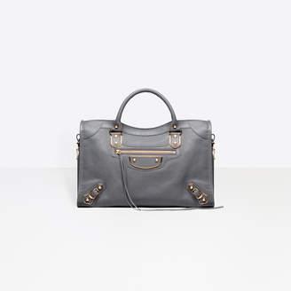 Balenciaga Medium sized goatskin hand carry and shoulder bag with metallic edge hardware