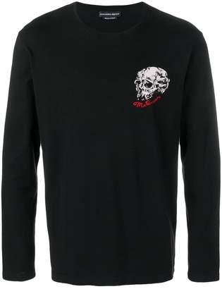 Alexander McQueen embroidered logo skull print top