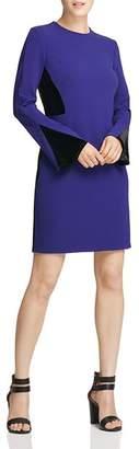 Donna Karan Crepe & Velvet Panel Sheath Dress