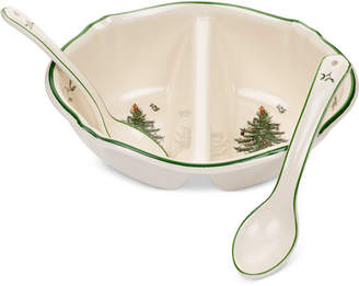 Spode Christmas Tree Divided Serving Dish with 2 Spoon