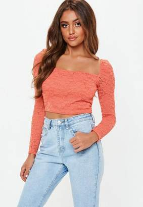 Missguided Coral Puff Sleeve Milk Maid Lace Crop Top