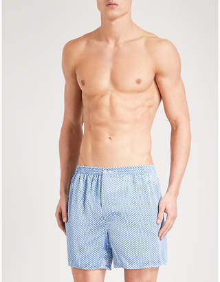 Zimmerli Mens Blue Patterned Relaxed-Fit Silk Boxer Shorts