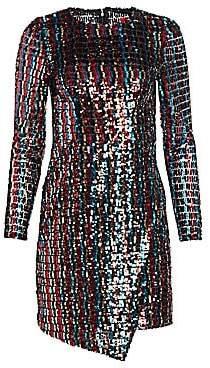 ML Monique Lhuillier Women's Multicolor Sequin Wrap Dress