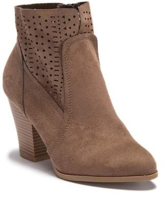 Wild Diva Lounge Danielle Perforated Stacked Heel Ankle Bootie