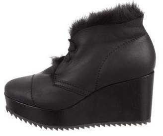 Pedro Garcia Leather Wedge Ankle Boots