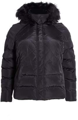 Quiz Curve Black Padded Faux Fur Hood Jacket
