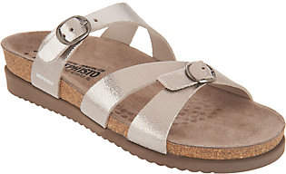 Mephisto Leather Double Strap Slide Sandals -Hannel