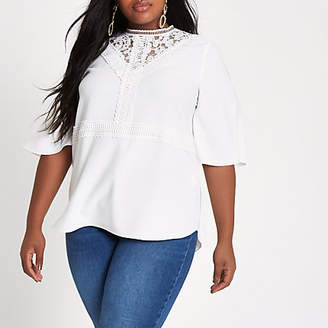 River Island Plus white lace insert long sleeve top