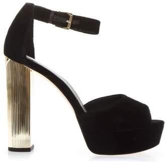 MICHAEL Michael Kors Black Velvet Platform Sandals Paloma