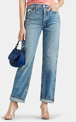 RE/DONE Women's Distressed High-Rise Loose Jeans - Blue