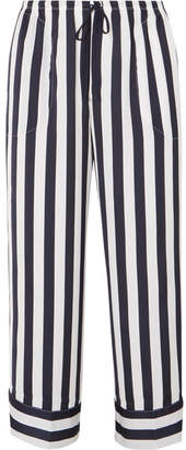 DKNY Walk The Line Cropped Striped Satin Pajama Pants - Navy