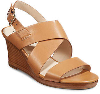Cole Haan Crisscross Leather Wedge Sandals