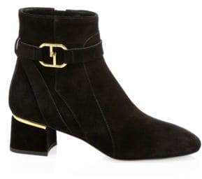 Tod's Double-T Buckle Suede Booties/2.5""