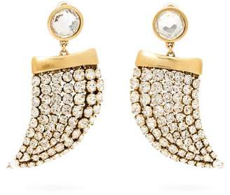 Saint Laurent Crystal Embellished Shark Tooth Clip On Earrings - Womens - Crystal