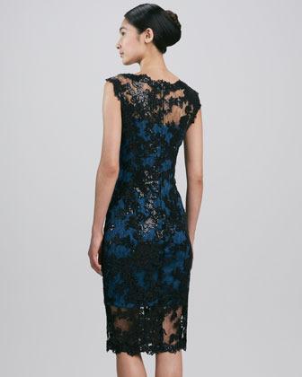 Tadashi Shoji Sleeveless Scalloped Lace Cocktail Dress