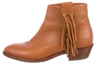 Valentino Fringe Leather Ankle Boots