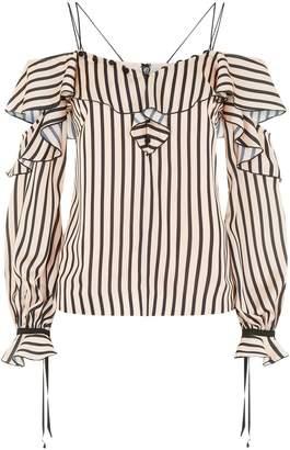Self-Portrait Stripe Off-The-Shoulder Frill Top