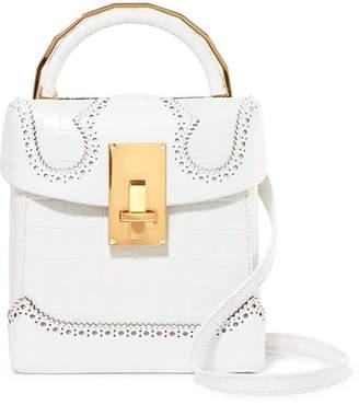 THE VOLON - Great L Alice Croc-effect Leather Shoulder Bag - White