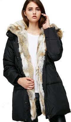 e0b775d7baac at Amazon Canada · Escalier Women s Long Hooded Thickened Down Coat Real  Raccoon Fur Collar Down Jacket Rabbit Fur Removable