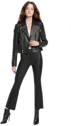 Alice + Olivia Cody Leather Metal Bar Jacket