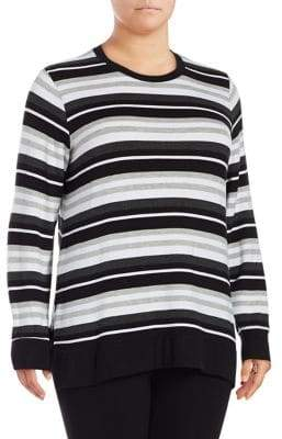 Andrew Marc Performance Plus Stripe Side Slit Sweater