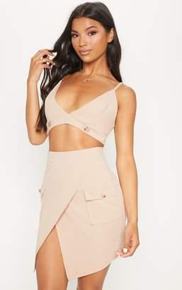 PrettyLittleThing Stone Military Pocket Mini Skirt