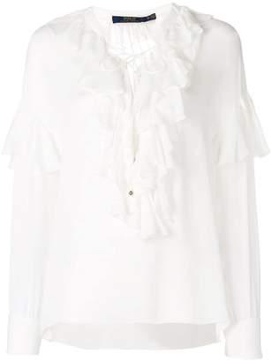 Polo Ralph Lauren frill trim long-sleeve blouse