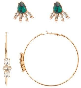 Free Press Statement Stud & Hoop Earrings Set - Set of 2