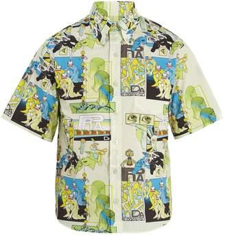 Prada DNA-print short-sleeved cotton shirt