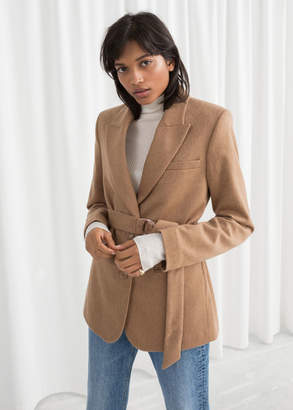 And other stories Belted Wool Blend Blazer