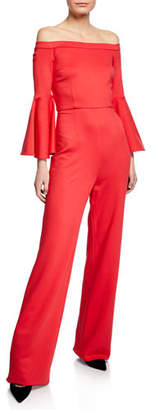 Trina Turk Joyride Off-the-Shoulder Ruffle-Sleeve Tropical Ponte Jumpsuit