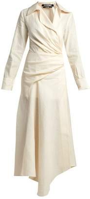 Jacquemus Sabah Ruched Linen Blend Midi Dress - Womens - Cream