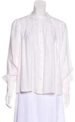 Frame Silk Button-Up Blouse