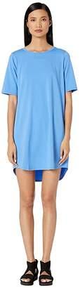 Eileen Fisher Organic Cotton Stretch Jersey Round Neck Elbow Sleeve Knee Length Dress