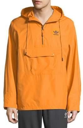 adidas Men's Pinstripe Quarter-Zip Wind-Resistant Jacket