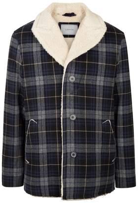 Lanvin Navy Checked Wool Jacket