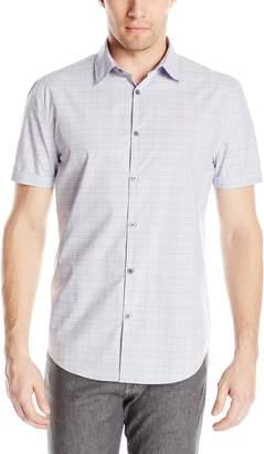 John Varvatos Men's Short Sleeve Button Down Check Shirt