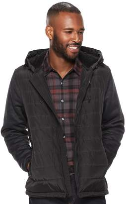Apt. 9 Men's Quilted Hooded Sherpa-Lined Sweater Fleece Jacket
