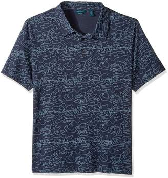 Perry Ellis Men's Big and Tall Pima Print 3 Button Polo Shirt